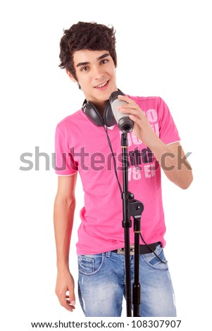 A young handsome boy singing - over white - stock photo