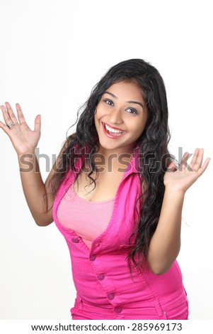 A young Indian girl posing for product shots, isolated on white - stock photo