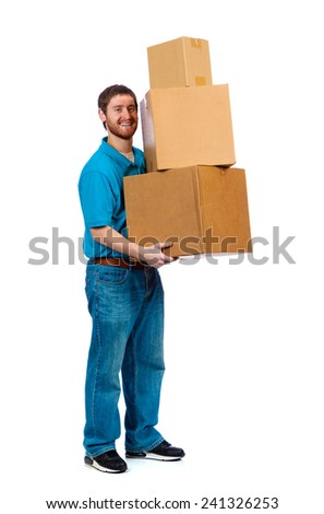 A young male carrying moving boxes on a white background - stock photo