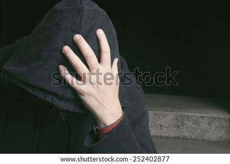 A Young man abandoned lost in depression - stock photo