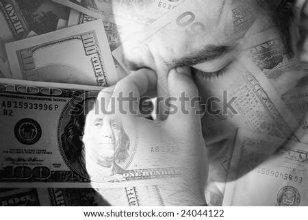 A young man that has an intense headache. - stock photo