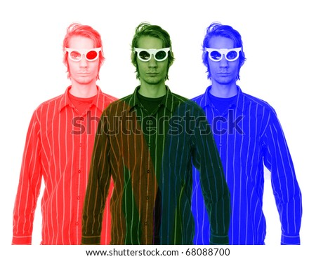 A young man wearing 3D glasses in a button up shirt isolated on white background - stock photo