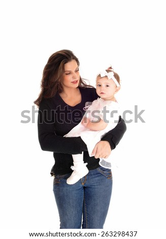A young mother holding her baby daughter in her arms, isolated for white background.  - stock photo