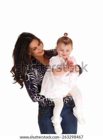 A young mother holding her daughter in her arms, isolated for white background.  - stock photo