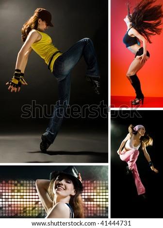 a young nice girl dancing modern dances - stock photo
