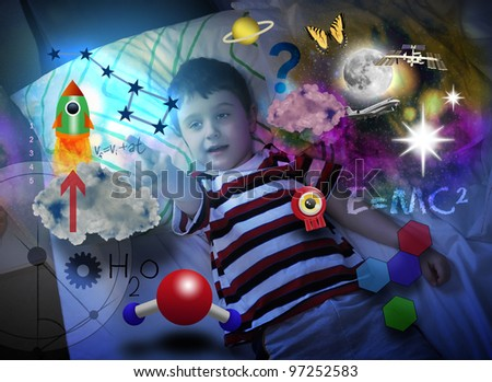 A young science boy is laying in bed at night and looking at a rocket ship with various education icons around him such as formulas and molecules. Use it for a school or genius concept. - stock photo