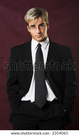 a young serious businessman - stock photo