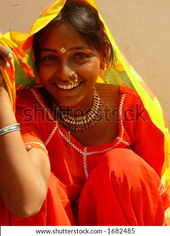 a young village girl in india - stock photo