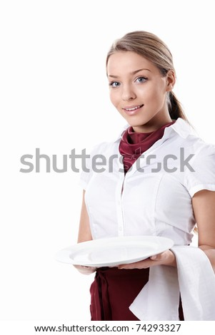 A young waitress with an empty plate on a white background - stock photo