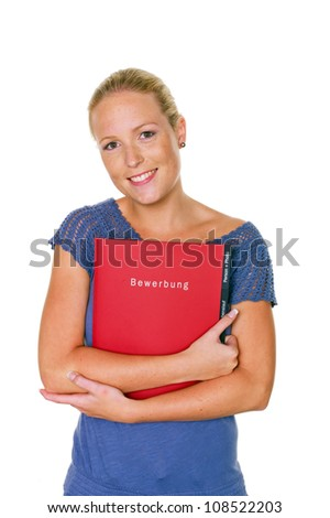 a young woman comes up with a job application in her hand on her job interview. isolated white background - stock photo