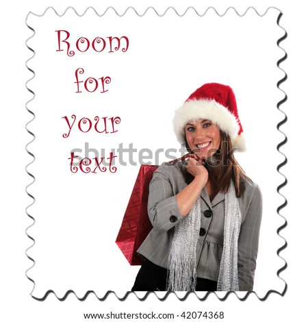 a young woman goes christmas shopping stamp with room for your text isolated on white - stock photo