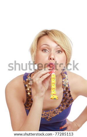 A young woman having fun, front - stock photo