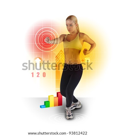 A young woman is exercising on a white background and punching a target with various work out icons around her. Use it for a healthy life or sport concept. - stock photo