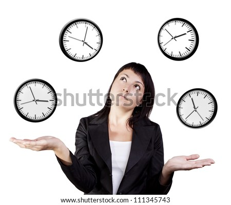A young woman juggling the management of time represented by cartoon clocks. Isolated on a white background. - stock photo
