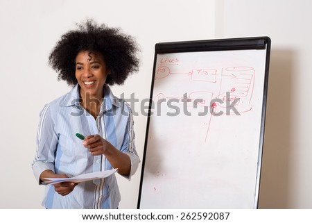 a young woman next to a whiteboard - stock photo