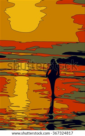 A young woman on the beach. Illustration - stock photo