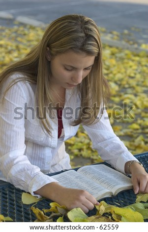 A young woman reading. - stock photo