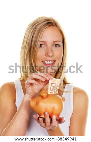 a young woman saves money and coins for the future. prevention and save â?¬ sham - stock photo