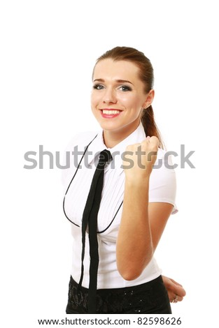 A young woman showing ok - stock photo
