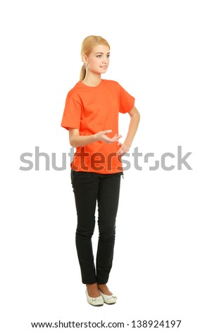 A young woman standing in full length isolated on white background . - stock photo