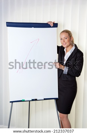 a young woman with a flip-chart board during a presentation. training and adult education. - stock photo