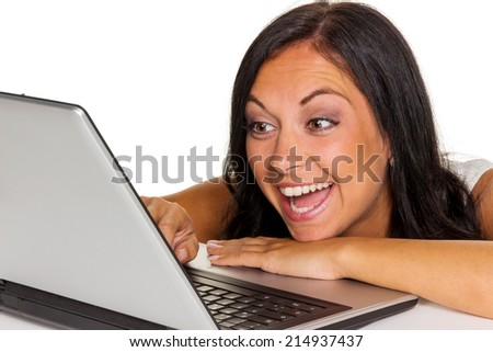 a young woman with a laptop computer. symbol photo for communication and modern media. - stock photo