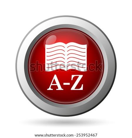 A-Z book icon. Internet button on white background.  - stock photo