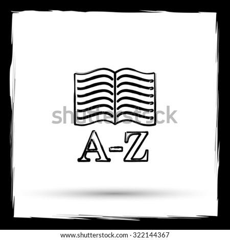 A-Z book icon. Internet button on white background. Outline design imitating paintbrush. - stock photo