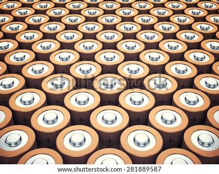 AA batteries background , Energy storage  - stock photo