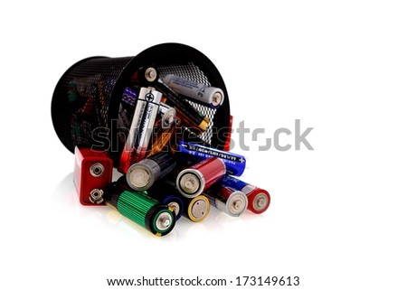 Aa batteries, recycling and renewable energy sources - stock photo