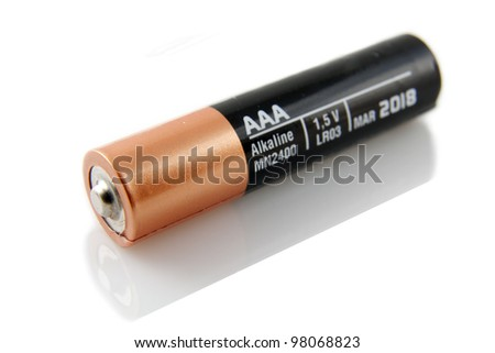 AAA battery against white. - stock photo