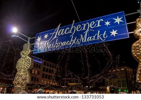 AACHEN, GERMANY - DECEMBER 15: Christmas market in Aachen, Germany on December 15, 2012. Aachen is a city with population of 260,000  in North Rhine-Westphalia. - stock photo