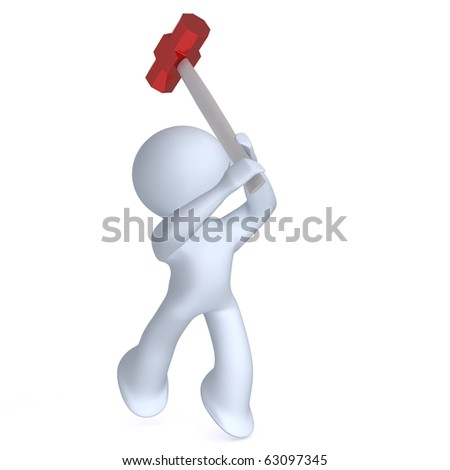 Aadmii with sledge hammer - stock photo