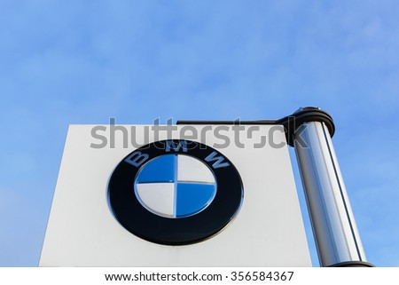 Aarhus, Denmark - December 13, 2015: BMW is a German luxury automobile, motorcycle and engine manufacturing company founded in 1916. BMW is headquartered in Munich, Bavaria, Germany - stock photo