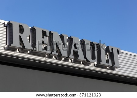 Aarhus, Denmark - January 17, 2016: Signage at Renault car dealer's building in Aarhus. Renault is a french car manufacturer producing cars, vans, buses and trucks. - stock photo