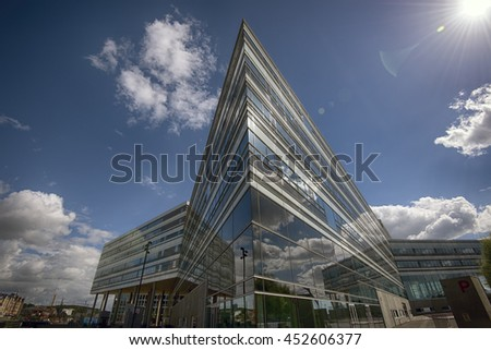 AARHUS, DENMARK - JULY 13, 2016: Modern architecture on Aarhus Dockland - Aarhus will be European capital of culture in 2017. July 13, 2016 - stock photo