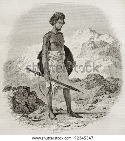 Ababda warrior old engraved portrait (tribe living between the Nile river and the Red sea). Created by Prisse, published on Magasin Pittoresque, Paris, 1845 - stock photo