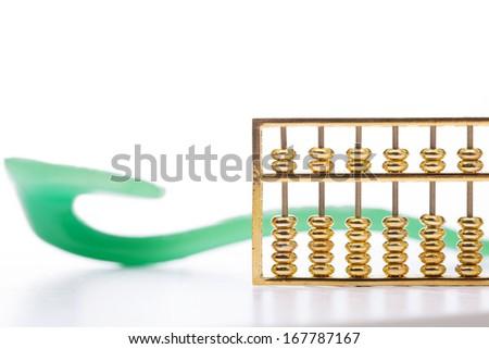 abacus and jade ruyi - stock photo