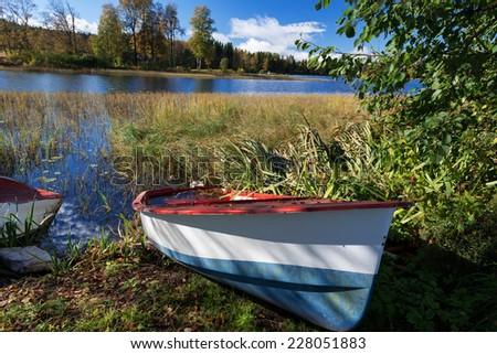 Abandoned boat near lake at Dikemark, Asker, Norway - stock photo