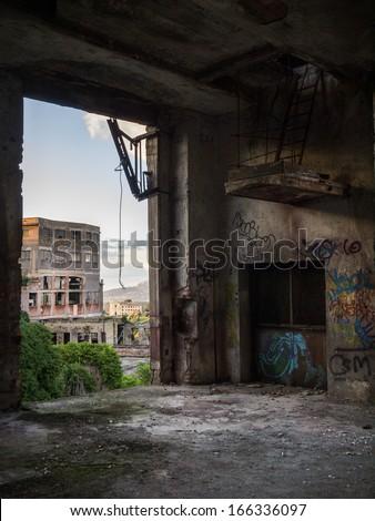 Abandoned building interior in Tivoli, Italy. - stock photo