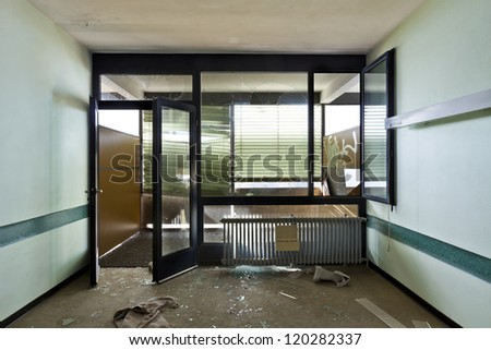 abandoned building, office destroyed - stock photo