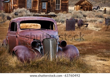 Abandoned Car - Bodie Ghost Town, California - stock photo