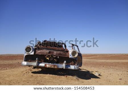 Abandoned Car in Australian Desert - stock photo