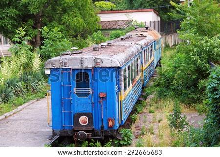 Abandoned children's railway in Uzhgorod, Transcarpathian region, Ukraine - stock photo