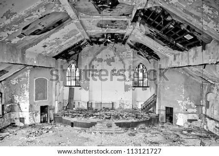 Abandoned church interior in Detroit Michigan. - stock photo