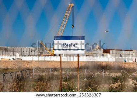 Abandoned construction site of the hotel. Casablanca, Morocco - stock photo