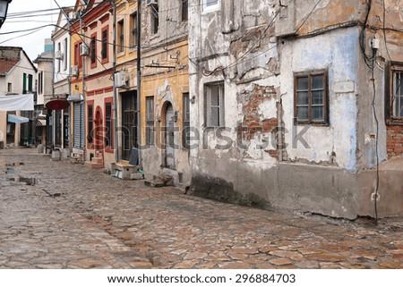 Abandoned Derelict Houses at Old Bazaar in Skopje Macedonia - stock photo