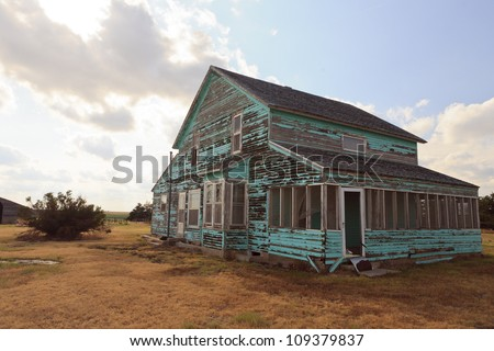 Abandoned farm-house in Kansas, USA. - stock photo