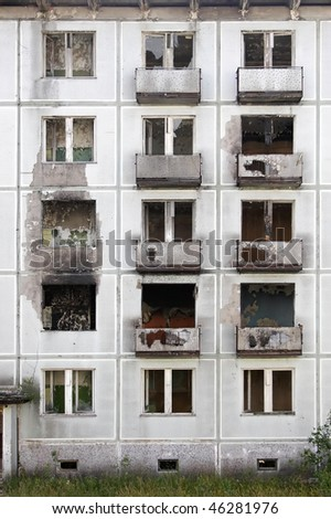 abandoned former Russian soldier houses, Ralsko, Czech republic - stock photo