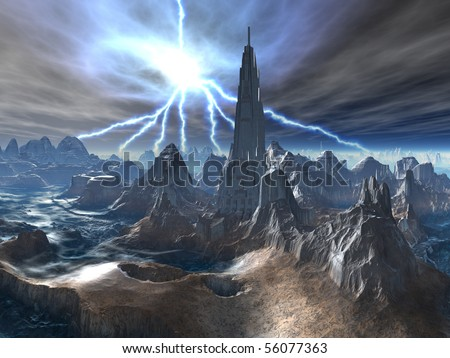 Abandoned Fortress on Alien World - stock photo